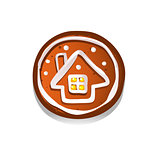 Cute gingerbread cookies for christmas with a winter house. Isolated on white background. Vector illustration