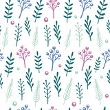 Vector floral pattern with handdrawn flowers and leafs