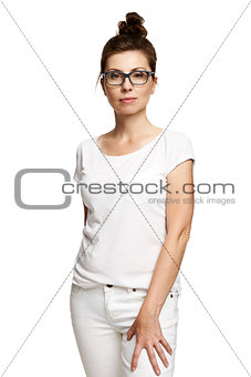 Confident Woman in White T-shirt