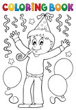 Coloring book boy celebrating theme 1