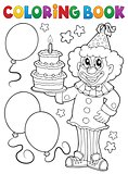 Coloring book clown holding cake