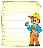 Notepad page with construction worker