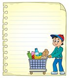 Notepad page with man shopping