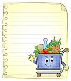 Notepad page with shopping cart
