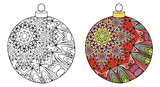 Zentangle stylized Christmas decorations. Hand Drawn lace vector illustration. Ball for coloring and painted specimen