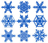 Set blue snowflake crystal ice