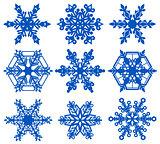 Set blue snowflake crystal ice