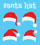 Santa Claus red hat set on white