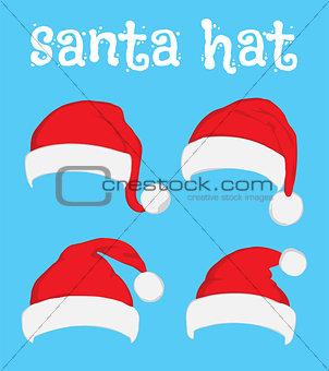 Santa Claus red hat set on white