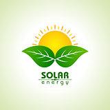 Solar Energy Concept with leaf and sun