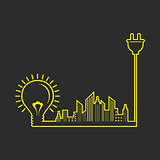 Energy concept with Electric bulb,plug and cityscape