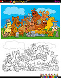 dogs and cats characters coloring book