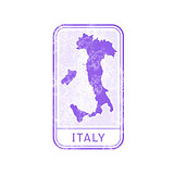 Travel stamp - Italy journey, map outline