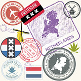 Netherlands travel stamps set - Holland journey symbols, Amsterd
