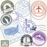 United states travel stamps set - USA journey symbols