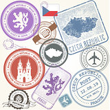 Czech travel stamps set - Prague journey symbols