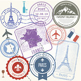 Travel stamps set - France and Paris journey symbols