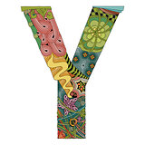 Letter Y zentangle. Vector decorative object