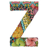 Letter Z zentangle. Vector decorative object