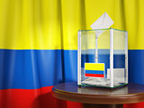 Ballot box with flag of Colombia  and voting papers. Colombian p