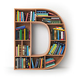 Letter D. Alphabet in the form of shelves with books isolated on