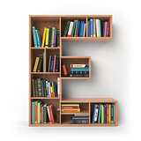Letter E. Alphabet in the form of shelves with books isolated on