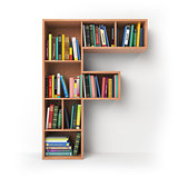 Letter F. Alphabet in the form of shelves with books isolated on