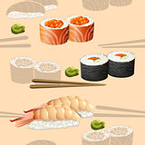 seamless pattern japanese cuisine silhouette sushi
