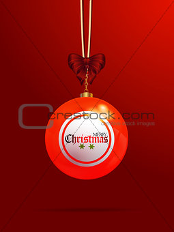 Christmas bingo lottery bauble on red background