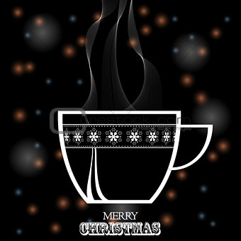 Christmas coffee cup white silhouette on black festive backgroun