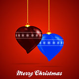 Decorated Christmas Baubles heart shape and text