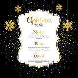 Christmas menu design with gold confetti