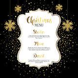 Christmas menu design with gold confetti