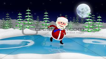 3D  Illustration  Santa on the Skates