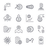 Cryptocurrency Line Icons Set. Vector Collection of Thin Outline Bitcoin Finance Symbols.. Editable Stroke.