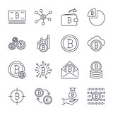 Set of line stroke vector bitcoin and cryptocurrency icons. Mining, coin, pickaxe, gold, money, exchange. Icons set for apps, programs, sites and other. Editable Stroke.