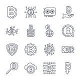 Set of vector bitcoin line icons. Investments, payments and exchange, internet banking, wallet, bundle of money, hand with a coin and more. Editable Stroke.
