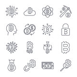 Digital money, bitcoin vector line icons, minimal pictogram design, editable stroke for any resolution. Editable Stroke