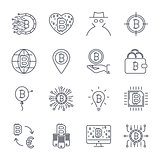 Set of vector bitcoin line icons. Investments, payments and exchange, internet banking, wallet, bundle of money, hand with a coin and more. Editable Stroke