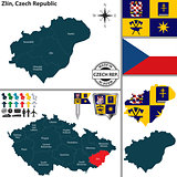 Map of Zlin, Czech Republic