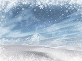 3D winter snowy landscape