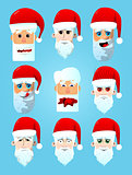 Santa Claus head icon set.