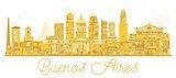 Buenos Aires Argentina skyline golden silhouette.