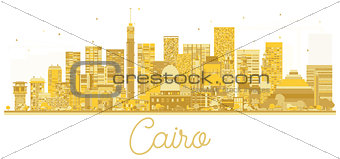 Cairo Egypt City skyline golden silhouette. Vector illustration.