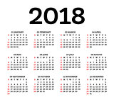 Calendar 2018 Isolated on White Background.