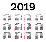 Calendar 2019 Isolated on White Background. Week starts from Sun
