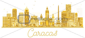 Caracas Venezuela City skyline golden silhouette.