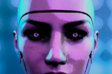 Dark female robot face