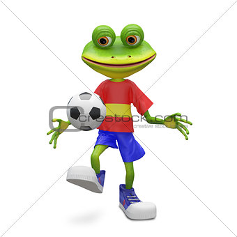 3D Illustration Frog Football Player