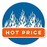Hot price sale text label with flames